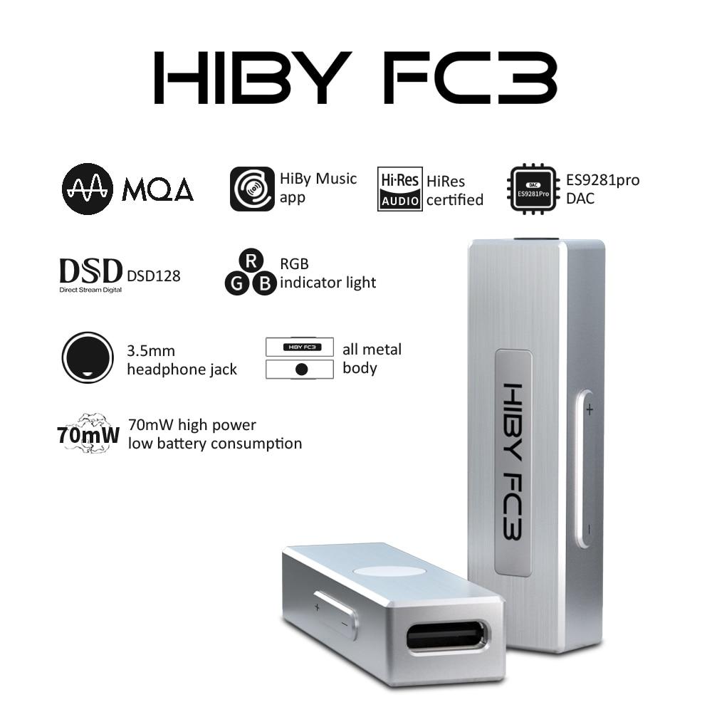 HiBy-AMPLIFICADOR DE AURICULARES FC3 MQA, llave electrónica con USB, DAC, decodificación de...
