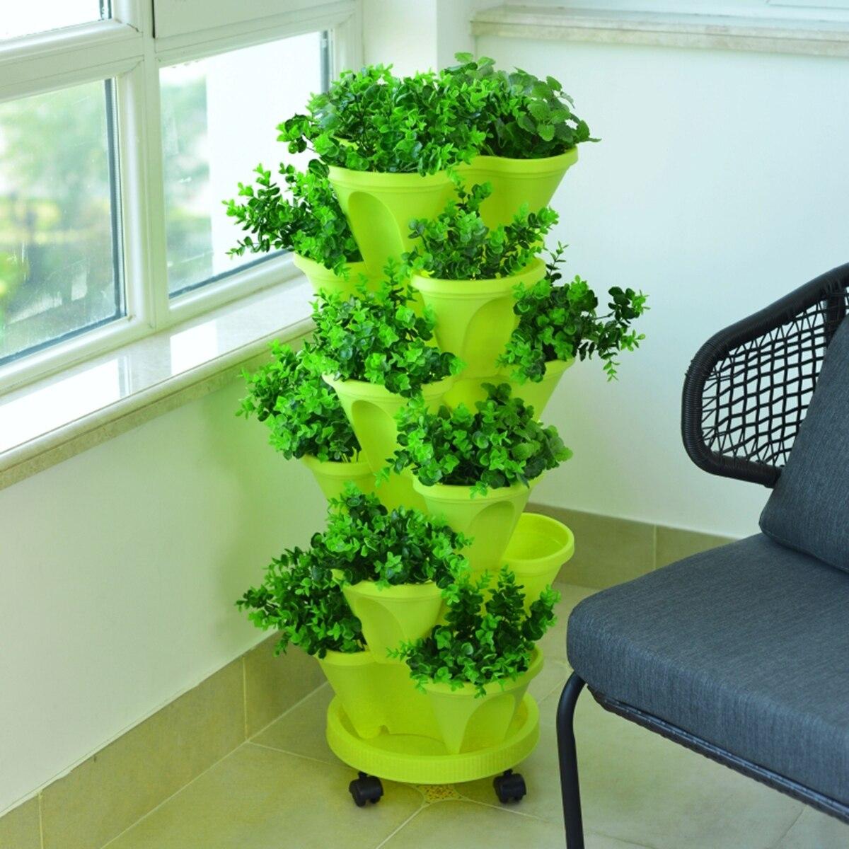 6 Layer Flowerpot Stacking Cultivation Pot Vegetable Melon Fruit Strawberry Planting Pot Garden Seedling Pot Home Decor
