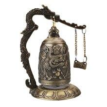 Świątynia buddyjska mosiądz miedziany smok zegar z dzwonkiem rzeźbione statua lotos budda buddyzm sztuka statua zegar Home dekoracyjne rękodzieła