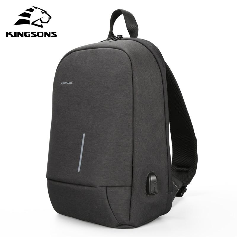 Kingsons Small Crossbody Bags for Men  Messenger Bag Casual Single Shoulder Bag USB Charging Chest Bag 13.3 inch Laptop Bag