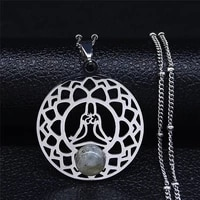 yoga flower of life flash stone stainless steel charm necklace silver color statement necklaces jewelry bijoux femme n1008s04