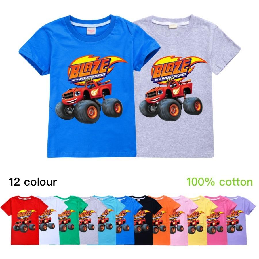 Baby Boys T-shirts Summer Kid Cartoon Blaze and the Monster Machines Short Sleeve T Shirt Cotton Tops Tees Girl Children Clothes