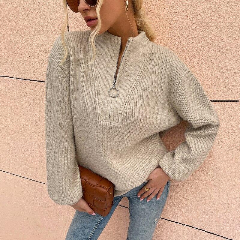 Утепленный вязаный женский свитер на молнии с воротником-поло, Свободный Повседневный женский свитер, пуловеры, Осень-зима 2021, модный топ