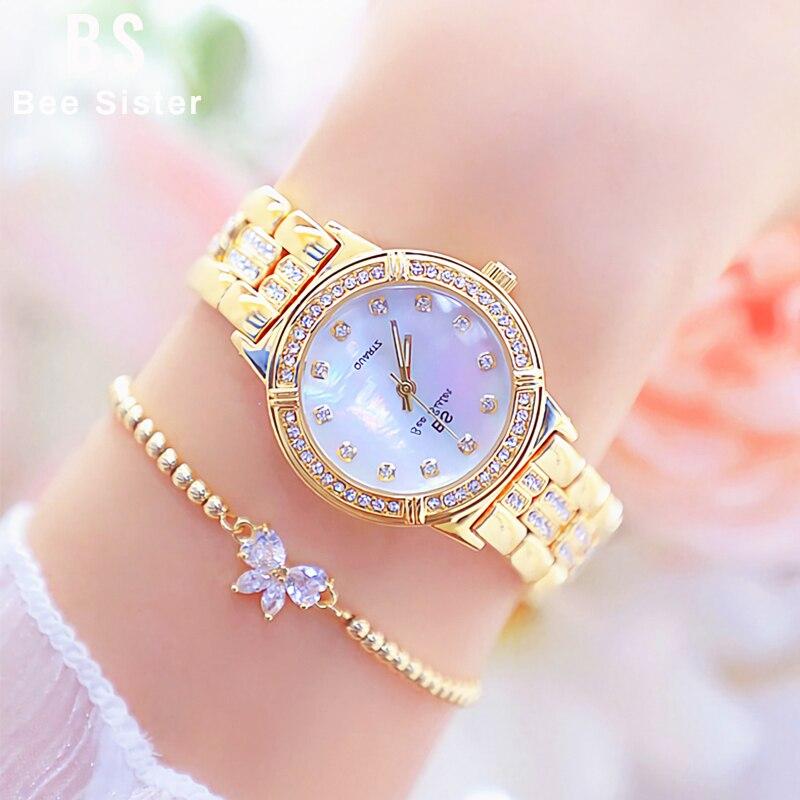 Frauen Uhr Luxus Marke Mode Rose Gold Diamant Kristall Damen Quarz Uhren Strass Armbanduhr Frauen Bajan Kol Saati