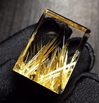 Top Natural Gold Rutilated Quartz Rectangle Pendant 23.6.*17.8*13.4mm Wealthy Crystal Rutilat Jewelry Women Men Brazil AAAAAA