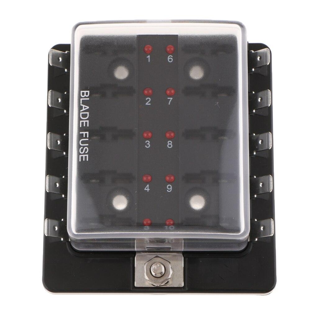 Caja de fusibles de cuchilla automotriz de 10 vías bloque de soporte ATO 1A-40A DC32V para barcos de coches