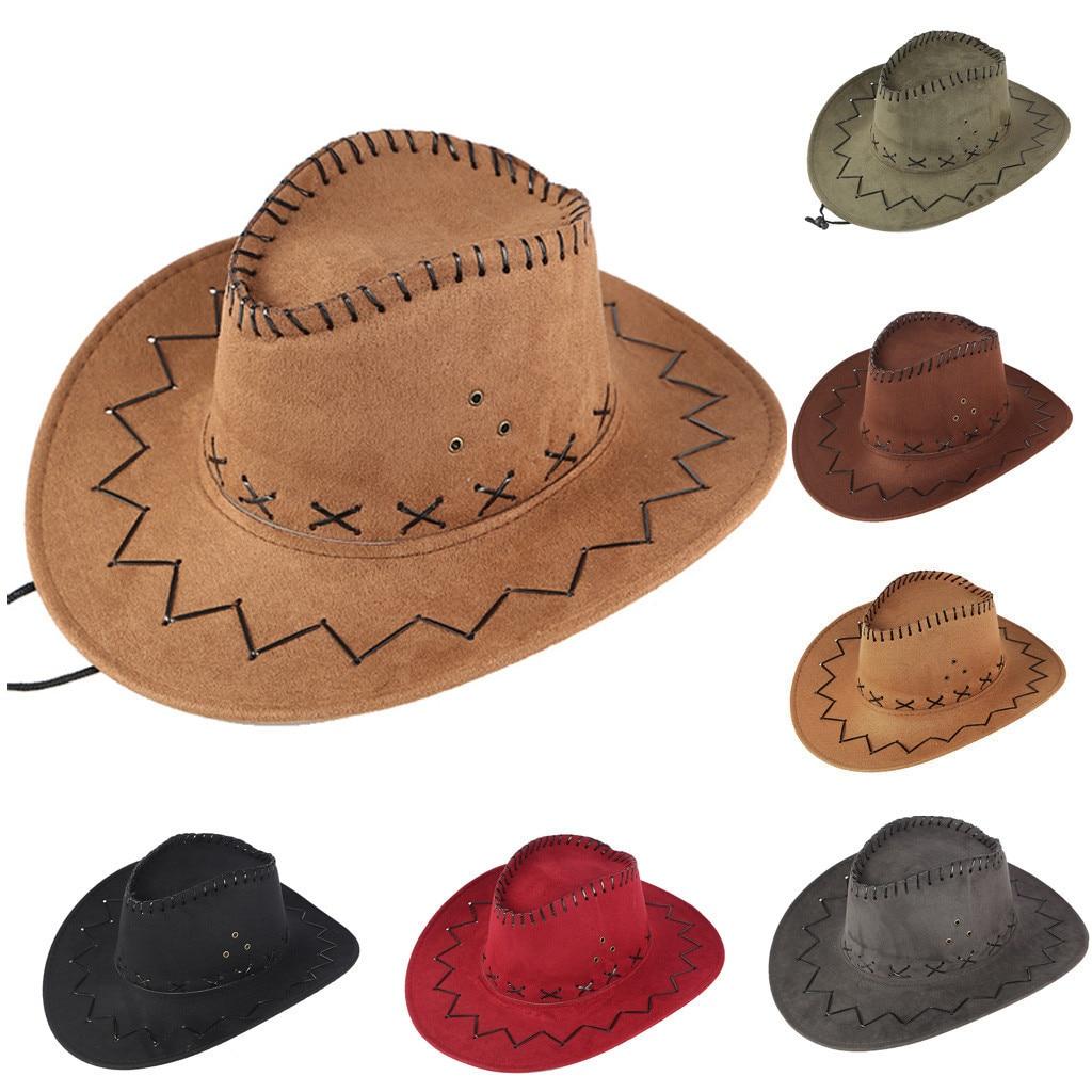 Adulto Unisex sombrero de cowboy del oeste hombres y mujeres de color sólido casual sombrero de playa de verano de viaje sombrero retro, sombrero de vaquero Czapka