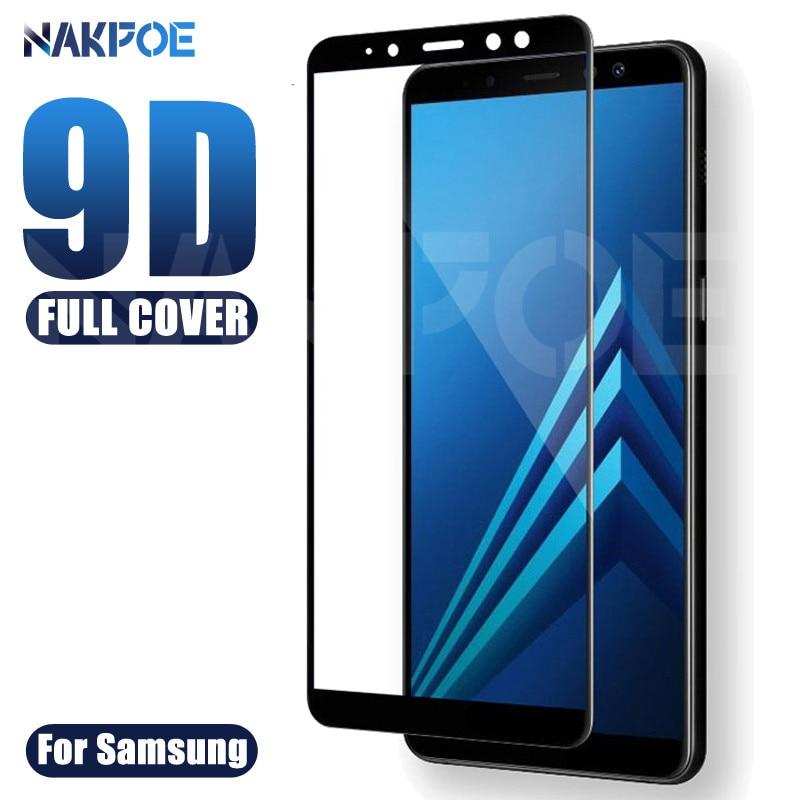 Cubierta completa 9D vidrio templado en para Samsung Galaxy A3 A5 A7 2016 2017 A6 A8 Plus A9 2018 Protector de pantalla de seguridad película protectora