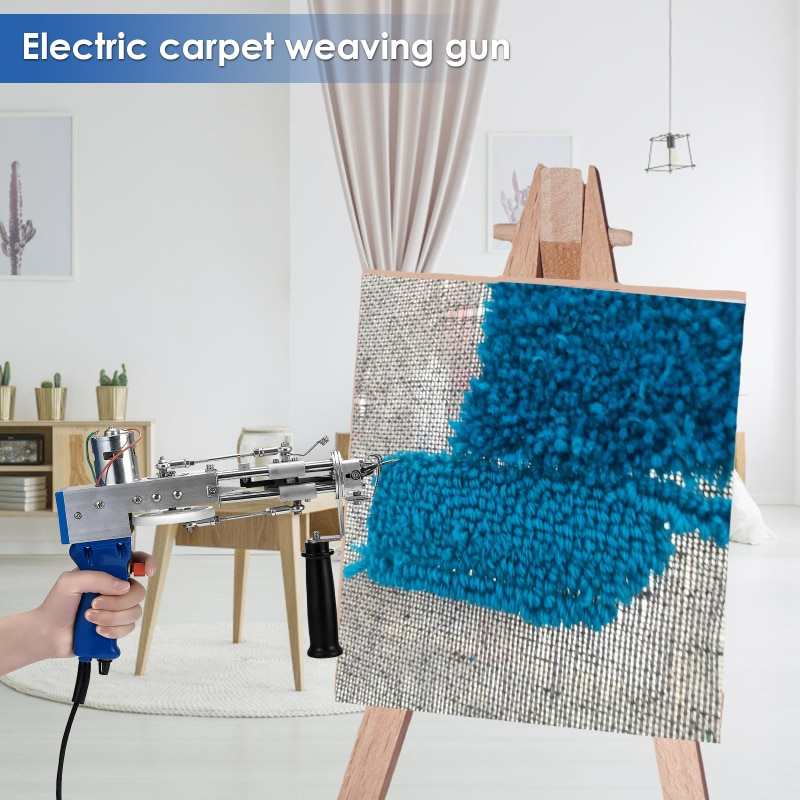 DIY Cut Pile 220V Loop Pile Electric Carpet Tufting Gun Carpet Weaving Flocking Machines Power Tool Hand Gun Cut Pile EU Plug