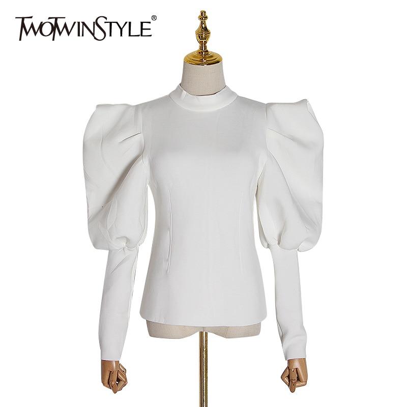 Twotwinstyle moletom feminino casual, gola redonda, manga longa, slim, moda feminina, 2020