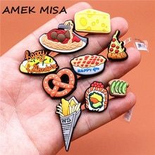 1pcs Food Style Shoe Decoration Cute Braised Noodle Pizza Pie Shoe Accessories Croc Charms for Sanda