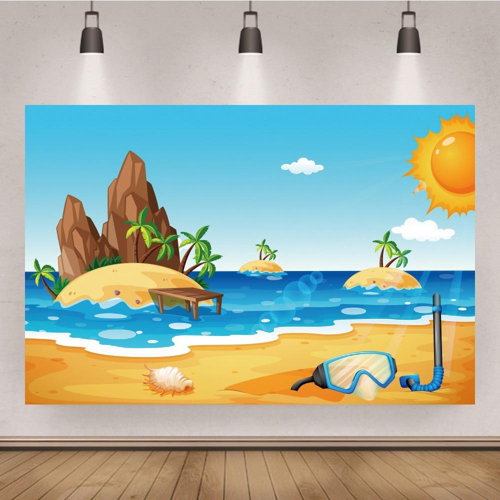 Cartoon Island Seaside Holiday Party Decor Backdrop Studio Photography Supplies Kids Birthday Backgr