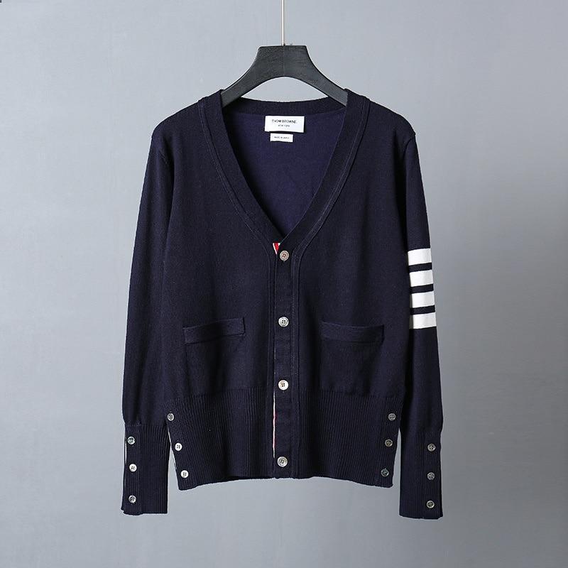 Классический кардиган TB, свитер в четыре бара, мужской шерстяной приталенный базовый свитер в Корейском стиле, повседневный мужской свитер ...