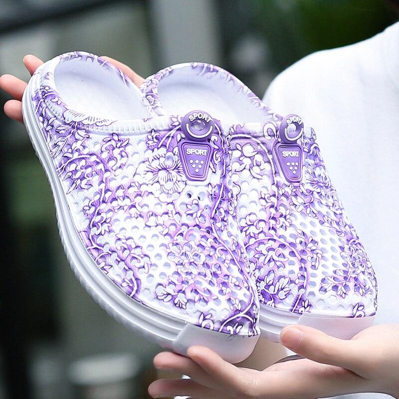 Летние женские сандалии, Женская пляжная фиолетовая обувь, легкие сандалии из ЭВА, разноцветная обувь на плоской подошве, сандалии