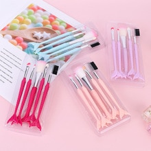 5pcs Mermaid Fan Makeup Brushes Set Eyeshadow Eyebrow Flat Foundation Cosmetics Brush Kit for Beauty