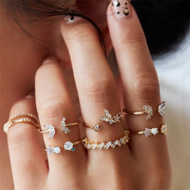 Moda boêmio abertura conjunta anel de noivado strass borboleta flor 7 peças retro cristal anéis de casamento conjunto para mulher