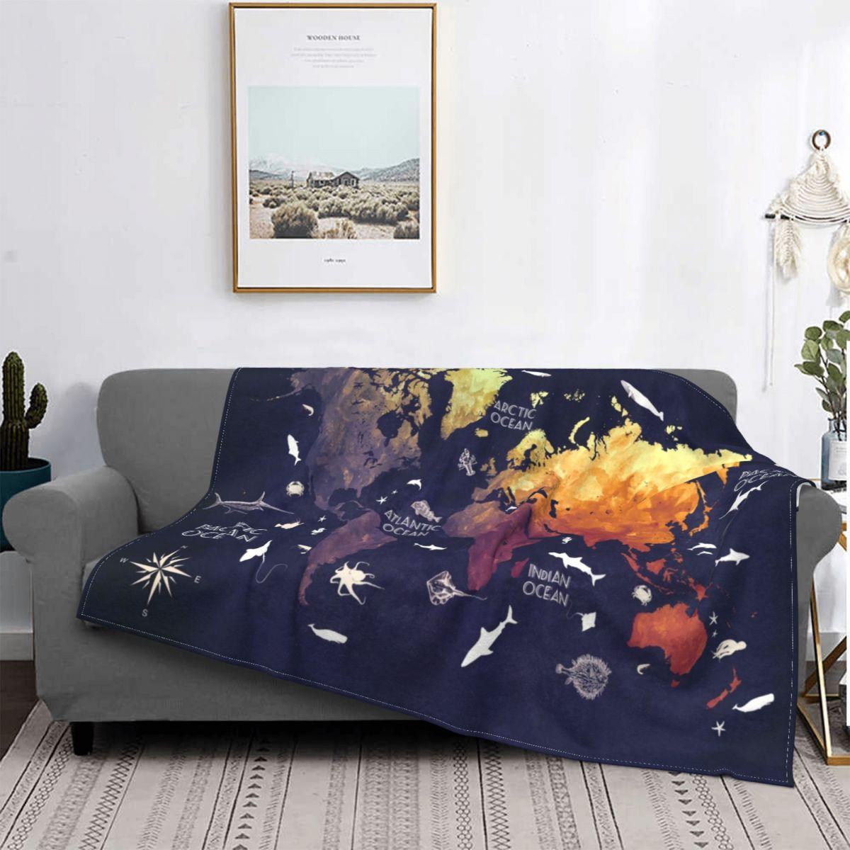 خريطة العالم البطانيات الفانيلا المطبوعة أطلس الملونة المحمولة سوبر الدافئة رمي البطانيات للنوم الأريكة البساط قطعة