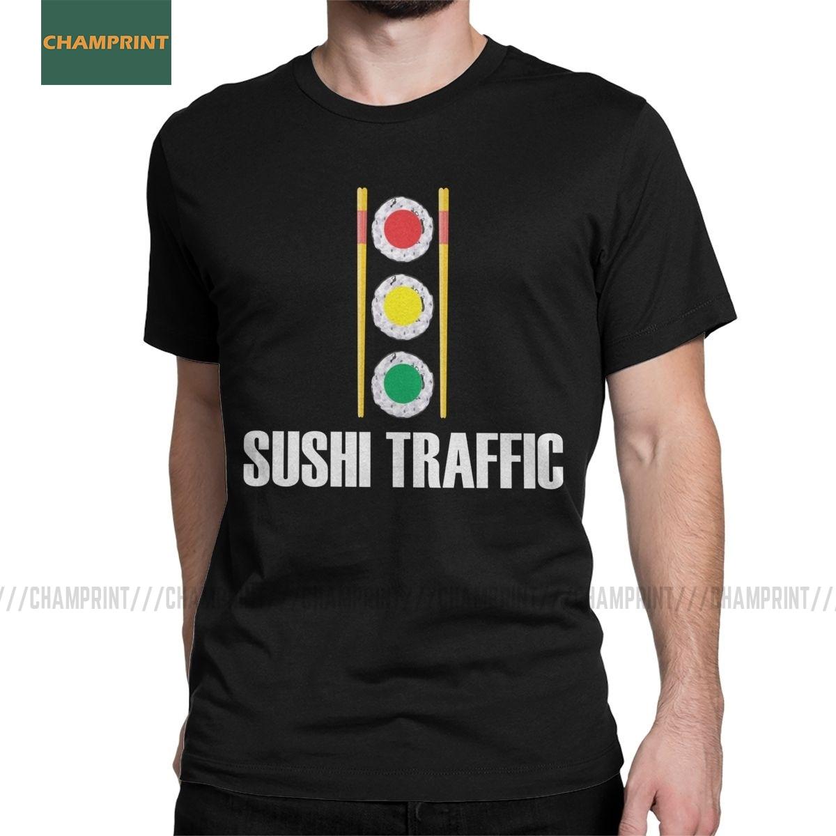 Divertido Sushi Pun Asian Food Traffic Light camisetas para hombres Camiseta de algodón Wasabi Rice Cartoon Nigiri Salmon camiseta de pez de manga corta