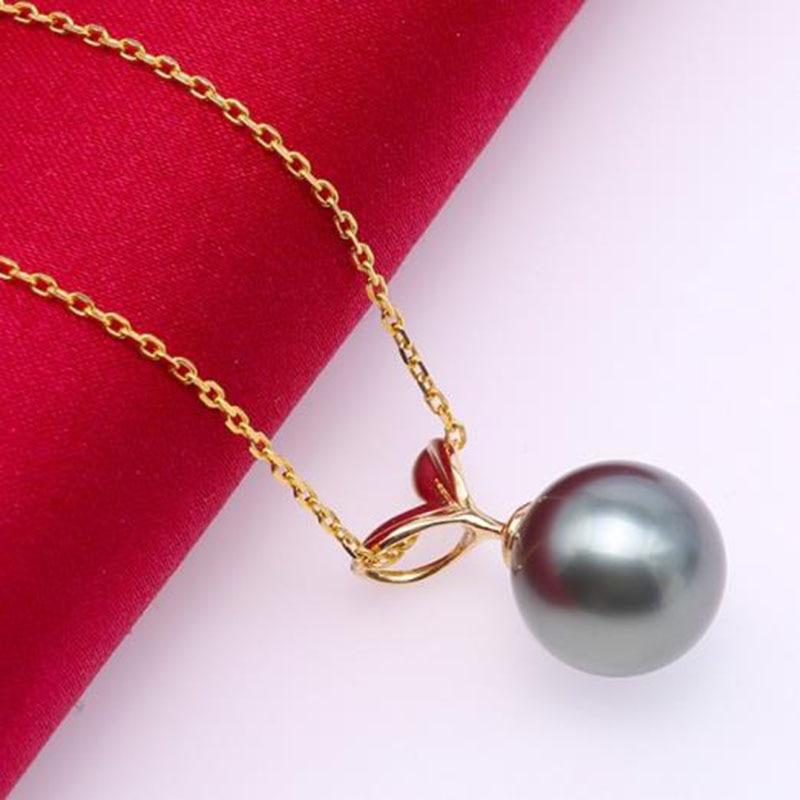 18 K oro 10,0mm negro Tahitian colgante perla Mar del Sur cultivado colgante 18 pulgadas AAA joyería oro 18 K