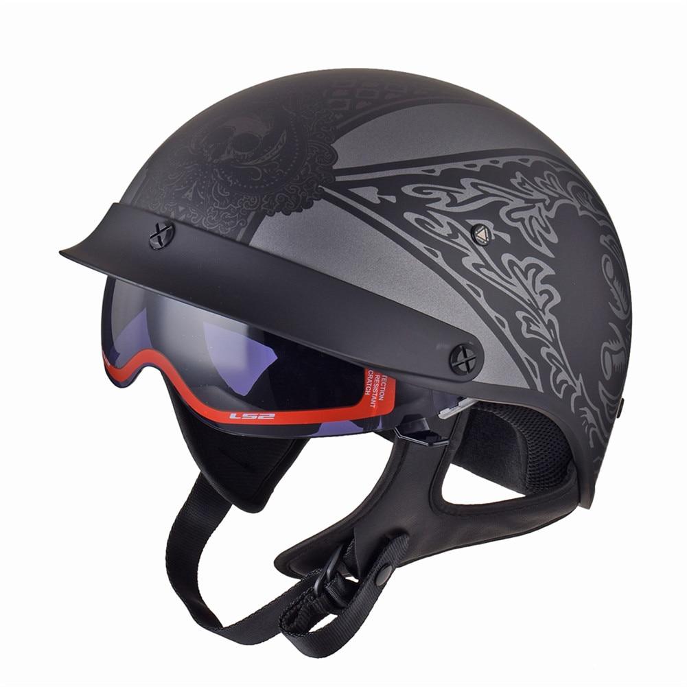 Ls2 vintage cruzador jet capacetes da motocicleta meio capacete scooter moto chopper piloto do motor capacete retro moto equitação