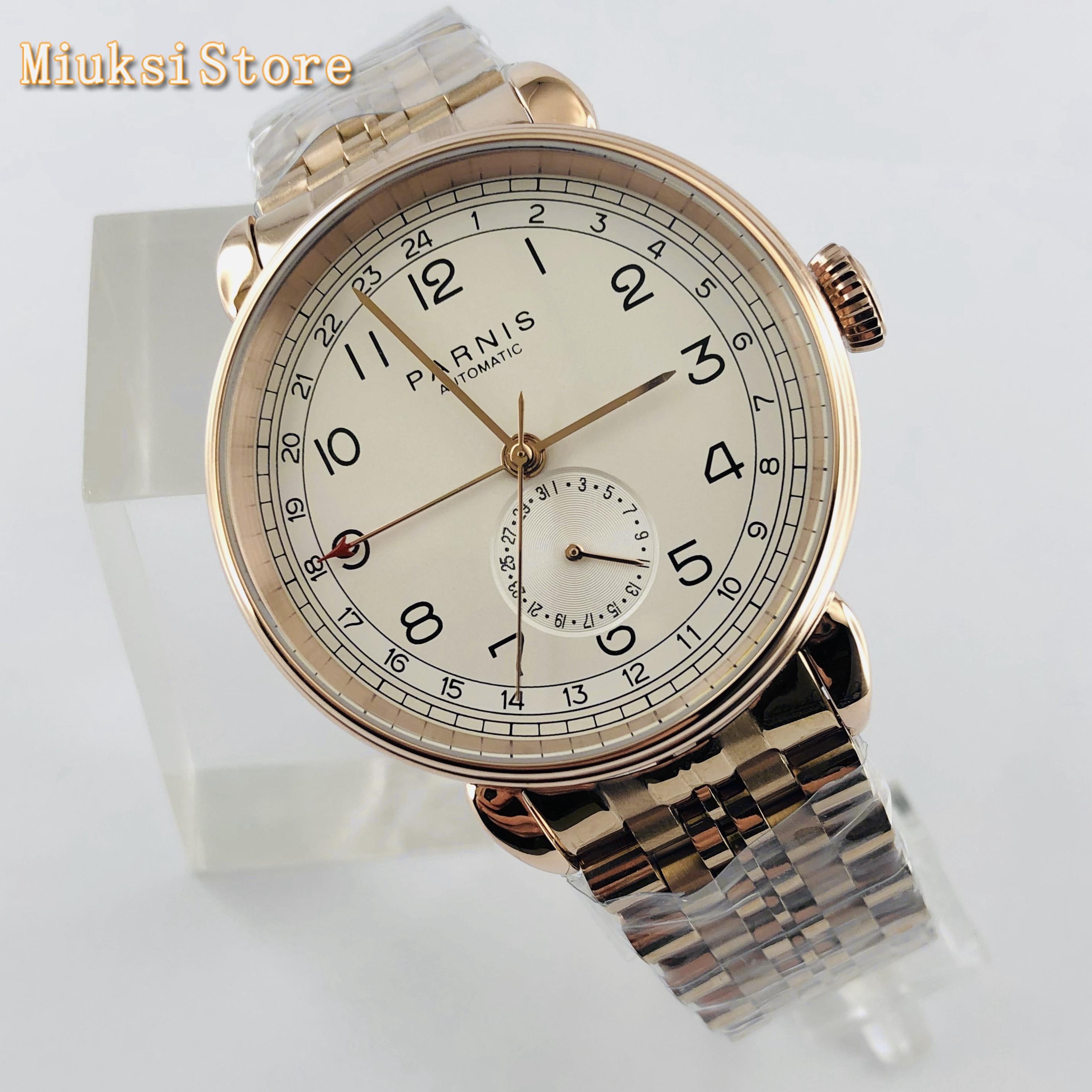 Parnis 2019 nova parte superior dos homens relógio mecânico automático 42mm rosa ouro gmt marca árabe data janela cinta de aço inoxidável relógios dos homens