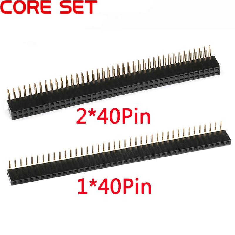 Connecteur tête de prise rectangulaire femelle simple/Double   10 pièces 1x40 2x40 broche 2.54mm espacement angle droit 90 degrés simple/Double rangée, connecteur rectangulaire