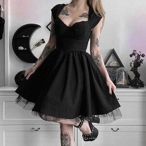 Vintage Punk Dress Women Black Goth Dress Harajuku Gothic Girl Sexy Lace Mesh Patchwork Dresses Streetwear Party Dress#J30