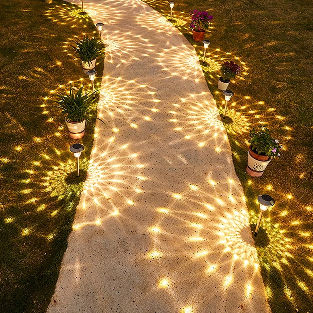 Светодиодный напольный светильник на солнечной батарее, 2 шт., уличная лампа для террасы, сада, газона, дорожек, двора, Декор, ландшафтный дор...