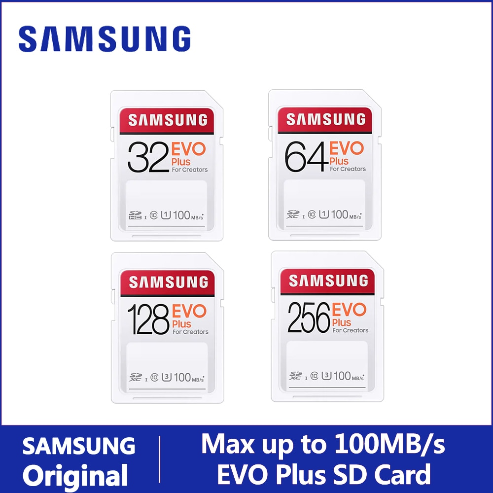 SAMSUNG SD Card EVO Plus For Creators 32GB 64GB 128GB 256GB SDHC SDXC Class 10 Memory Card Up to 100MB/s Video Camera Flash Card
