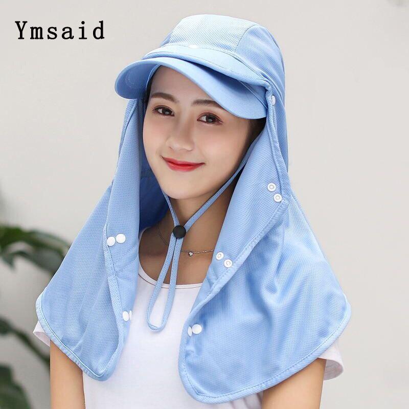 Elegante multifunción sombrero de sol de las mujeres, sombrero de solapa de cuello al aire libre amplia protección UV sombrero senderismo de malla tapa respirable chal conjunto