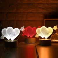 3 colors night lightsone arrow through the heart lamp creative novelty illusion night lamp illusion table lamp for home light