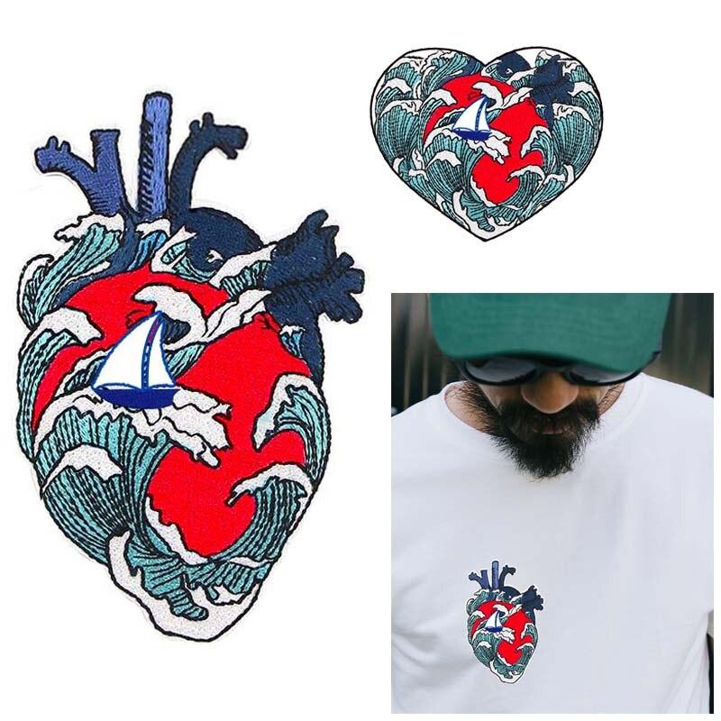 Prajna ferro no remendo do coração do punk para a roupa bordado vermelho coração emblema remendos diy flores coração applique listras em t camisa