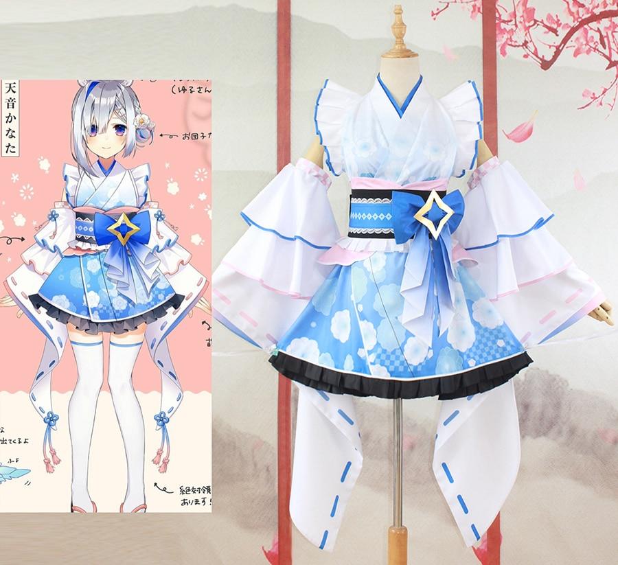 [صنع حسب الطلب] فستان لوليتا من Vtuber hololiamane Kanata أزياء تنكرية لحفلات الهالوين ملابس نسائية جديدة لعام 2021