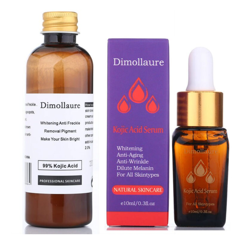 Dimollaure 30g pure Kojic Acid whitening cream+Kojic Acid serum Wrinkle removal Freckle melasma Acne scar pigment melanin cream kojic acid and its derivatives