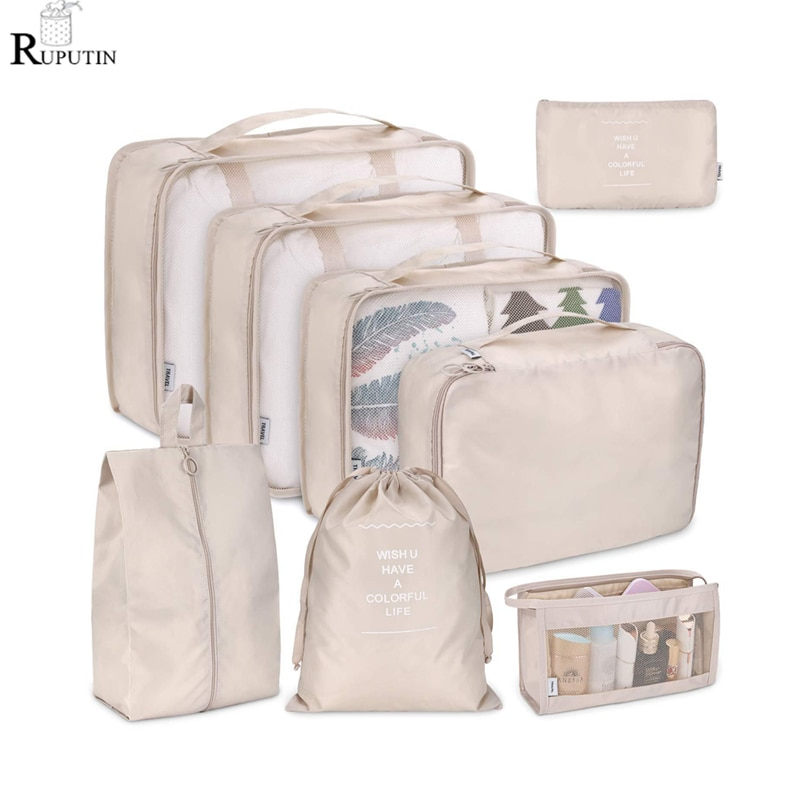 New 8Pcs/set Large Capacity Luggage Storage Bag Clothes Underwear Cosmetic Travel Bag Baggage Packing Suit Organizer Wash Bags etya cute travel bags cosmetic bag multifunction men and women pvc luggage packing organizer large capacity clothes wash pouch