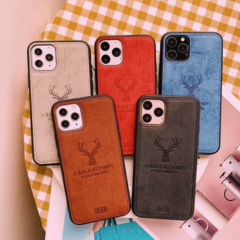 3D Deer Stoff Textur Weiche Silikon TPU Print Tuch Muster Abdeckung Für iPhone SE 2020 6 6s 7 8 plus X XS 11 Pro Max XR Fall Capa
