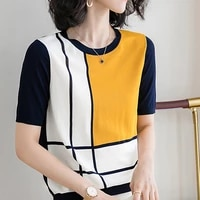 ljsxls knitted short sleeve tshirt women summer top 2021 korean fashion clothes loose patchwork elasticity casual t shirts femme