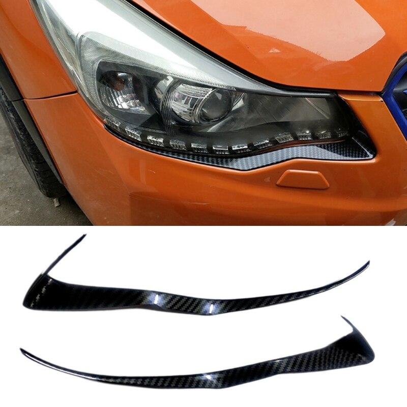 Car Carbon Fiber ABS Head Front Light Cover Trim Eyebrow for Subaru XV 2012-2016
