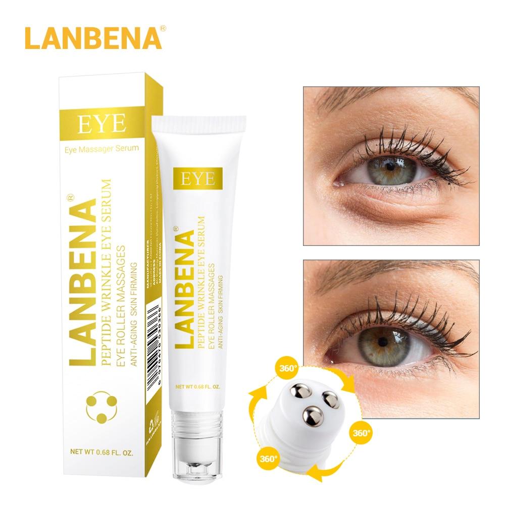 Сыворотка для глаз LANBENA, Пептидная Увлажняющая сыворотка для ухода за глазами, против отечности, темных кругов и старения, товары для красот...