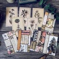 10 pcs vintage flowers and plantsretro bookmark card background material junk journal paper set for scrapbooking happy planner