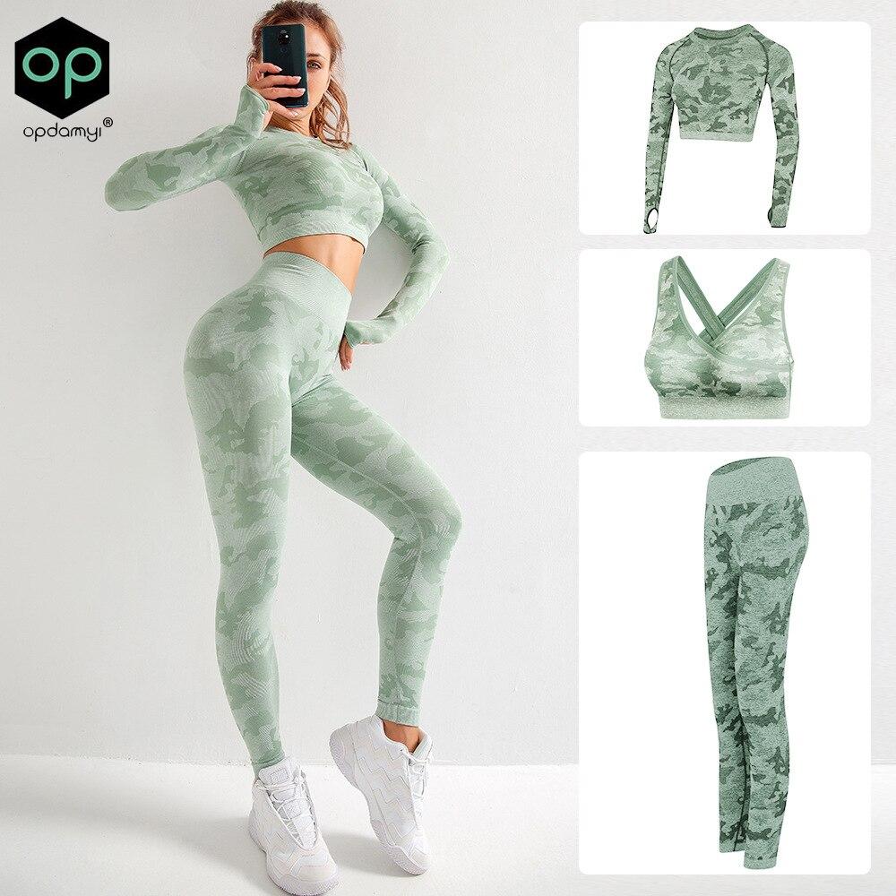 Mujer Yoga campeón Crop Top Fitness camisa y mallas Bra ropa deportiva de manga larga ropa deportiva sujetador traje de ropa deportiva