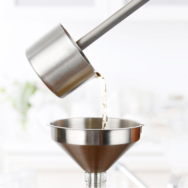 Práctico de acero inoxidable boca ancha llenar líquido vino aceite de embudo para miel cocina hogar colgante herramientas