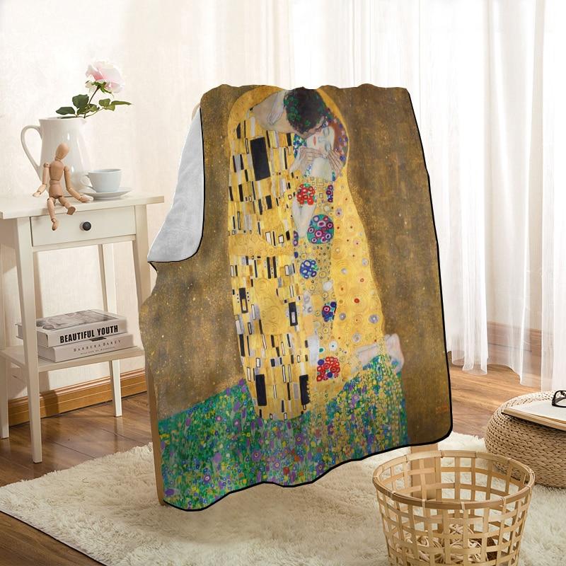 HEARMNY غوستاف كليمت الفن الذهب قيلولة بطانية دافئ فائق النعومة ستوكات بطانية قماش ل الأريكة رمي بطانية السفر الكبار