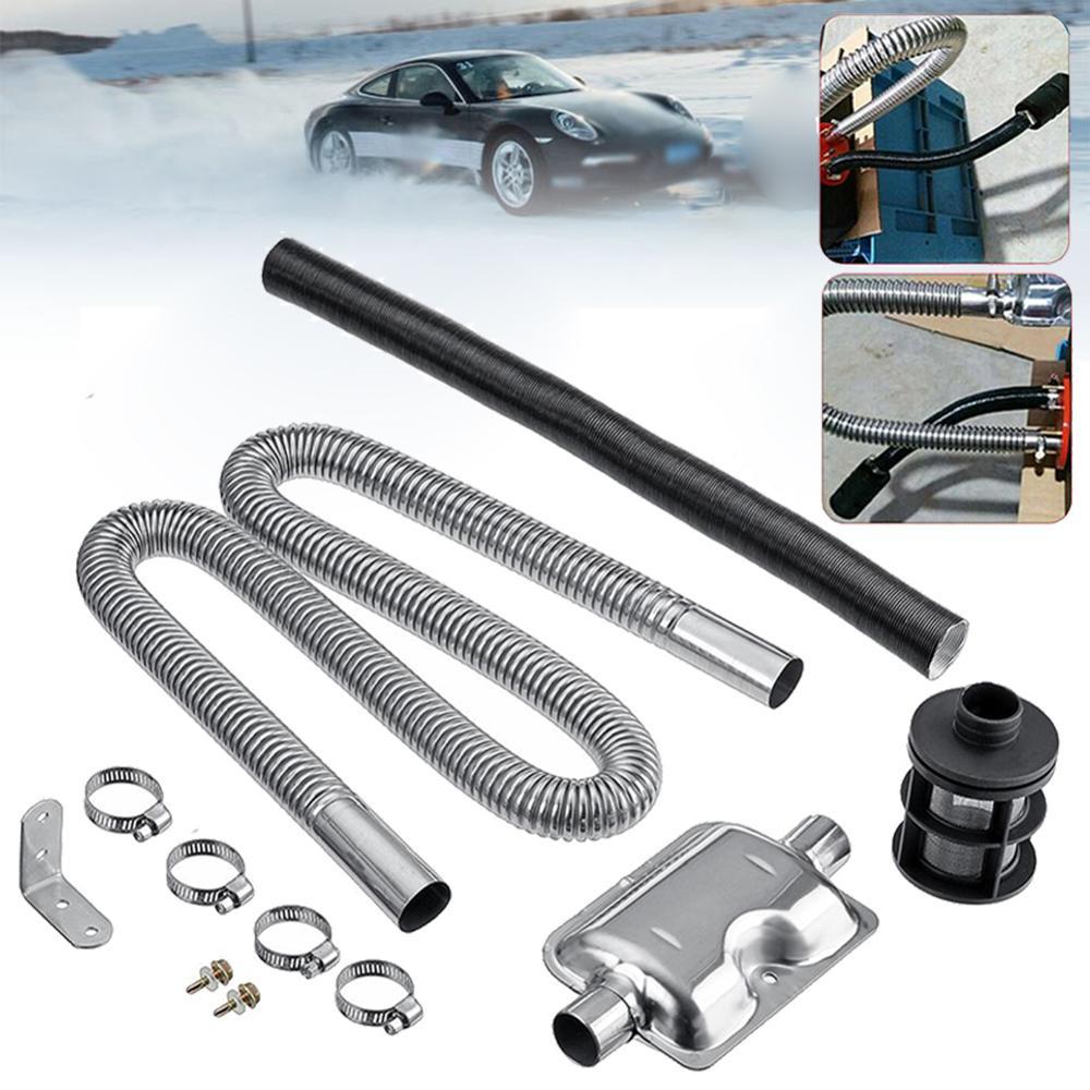 120cm tubo de escape automático manguera de Gas 24mm camión de coche silenciador de tubo portátil de acero inoxidable abrazaderas soporte para calentador de Diesel
