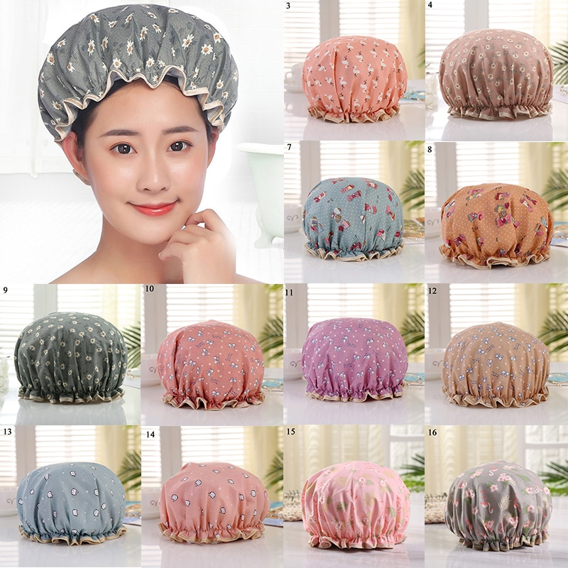 Thick 1PC  Double Layer Waterproof Bath Hat Shower Hair Cover Women shower Caps Multifunction Bathro