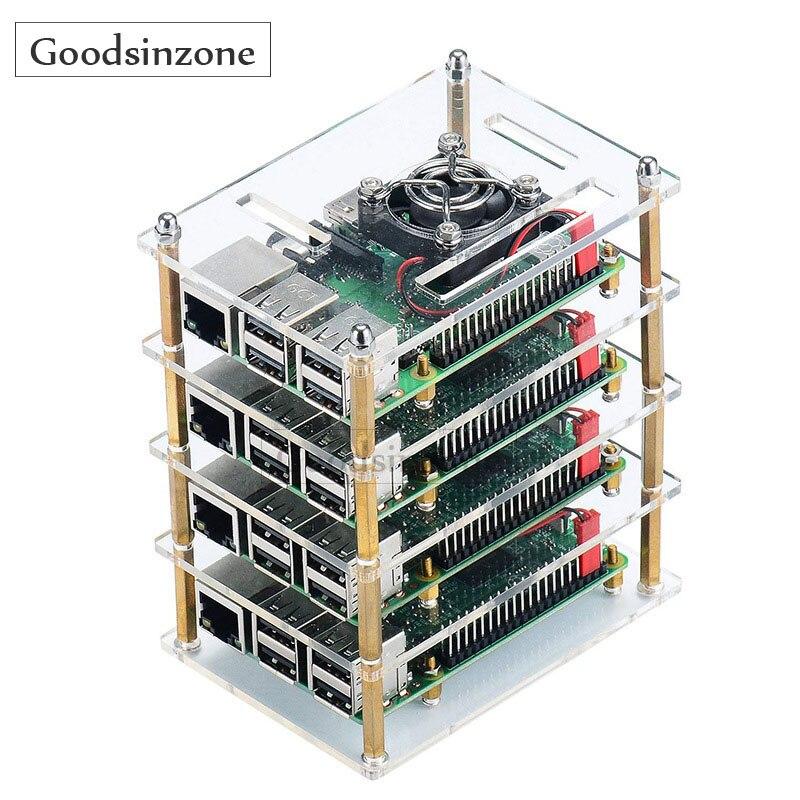 Чехол для Raspberry Pi 4 Model B, чехол для Raspberry Pi 4 с комплектом охлаждающих вентиляторов для Raspberry Pi 4 Model B (4-слойный)