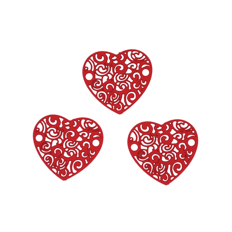 30 unids/lote hueco dijes de forma de corazón 17x16mm de aleación de pintura en aerosol conectores Multicolor filigrana encantos