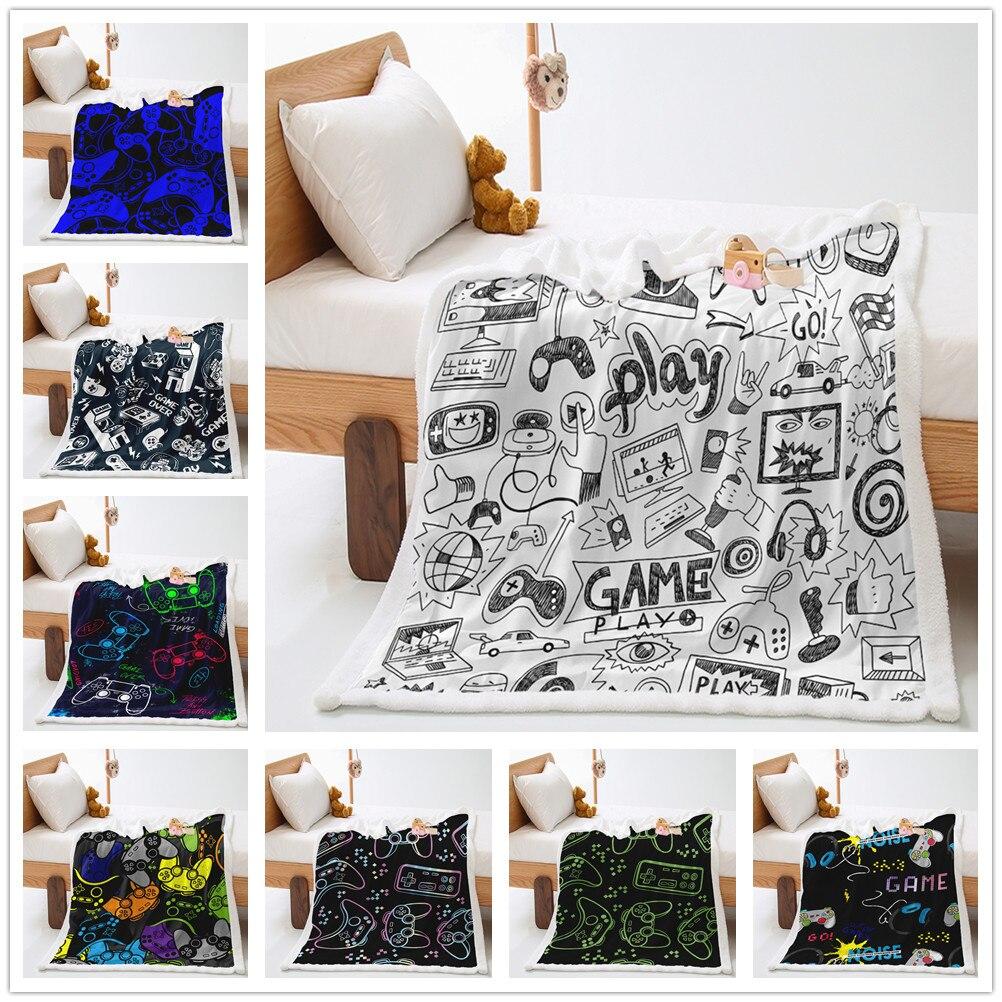 غمبد بطانية قطيفة لعبة فيديو تحكم بطانية ثرو من الصوف الجدة الحديثة عمل أزرار ديكور شيربا بطانية ل أريكة سرير