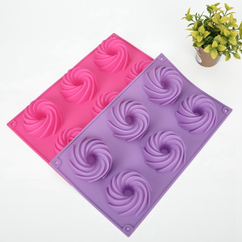 Molde de silicona de alta calidad de 6 cavidades, molde de pastel Bundt, molde de silicona para hornear magdalenas, molde de flor para cupcakes de 28,5x17x2,8 CM, Color aleatorio