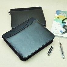Affaires vintage document sac bref étui padfolio dossier avec fermeture éclair bloc-notes planificateur poche pour téléphone portable CD poche 783